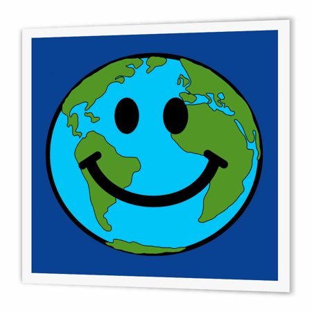3Drose Planet Earth Smiley Face   Happy World Globe Earth Day   Smilie For Peace Eco Friendly Green Symbol  Iron On Heat Transfer  8 By 8 Inch  For White Material