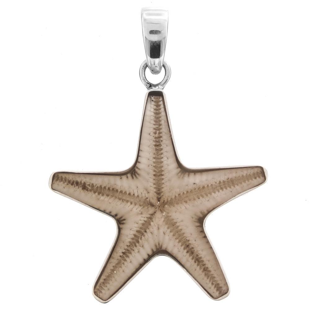 "Genuine Starfish Seastar 925 Sterling Silver Pendant, 1 7/16"""