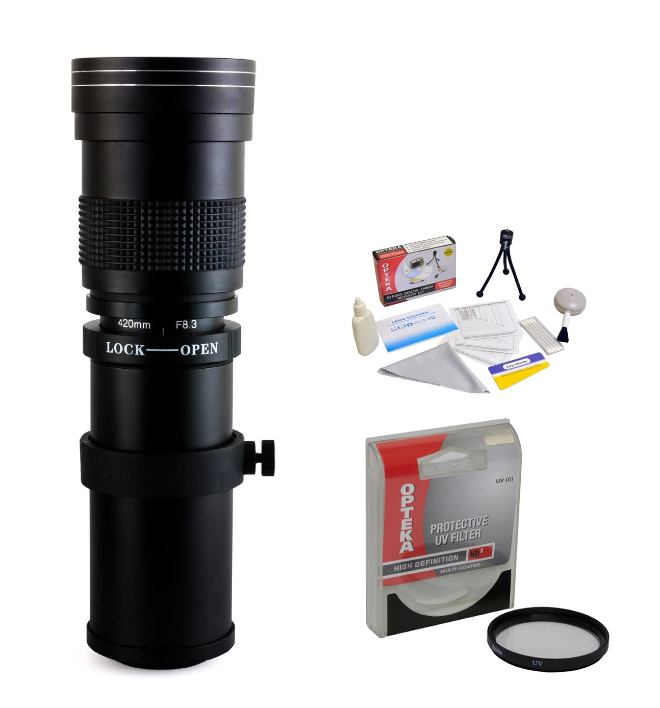 Opteka 420-800mm f/8.3 HD Telephoto Zoom Lens with UV Filter for Nikon 1 J4, J3, J2, S2, S1, V3, V2, V1 and AW1 Compact