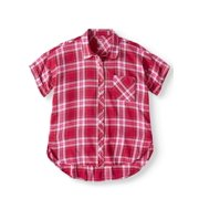 Wonder Nation Button Down Camp Shirt (Little Girls, Big Girls & Plus)