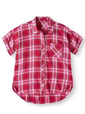 Wonder Nation Button Down Camp Shirt (Little Girls, Big Girls & Plus)