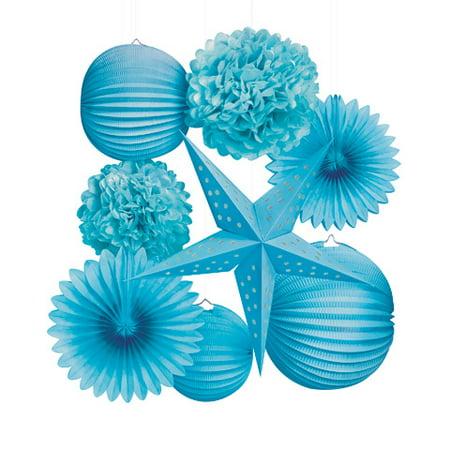 Paper Party Decorations Kit: Blue, 8 pieces - Center Piece Decorations