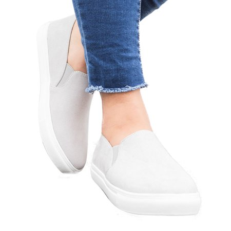 Women's Slip On Platform Solid Loafers Round Toe Flat Heels Casual Sneaker Shoes ()