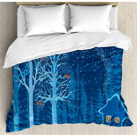 Forest King Size Duvet Cover Set  Winter Landscape With Show Covered Country House Hut In Trees Rural Picture  Decorative 3 Piece Bedding Set With 2 Pillow Shams  Red Dark Sky Blue  By Ambesonne