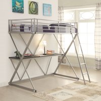 Twin Workstation Loft Bed with Desk Silver