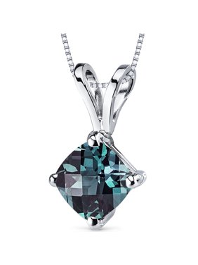"""1 ct Cushion Cut Created Alexandrite Pendant Necklace in 14K White Gold, 18"""""""