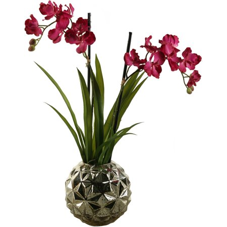 D Silks Mauve Vanda Orchids In Resin Contemporary Planter