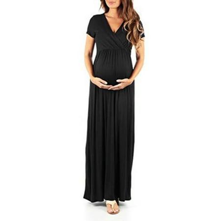 e8ebc23d76 Sexy Dance - Maternity Dress Women Pregnant Solid Short Sleeve V Neck Long  Maxi Pregnant Dress Casual Loose Photography Prop Clothes - Walmart.com