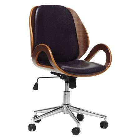 Baxton Studio Watson Wood Leather Office Chair