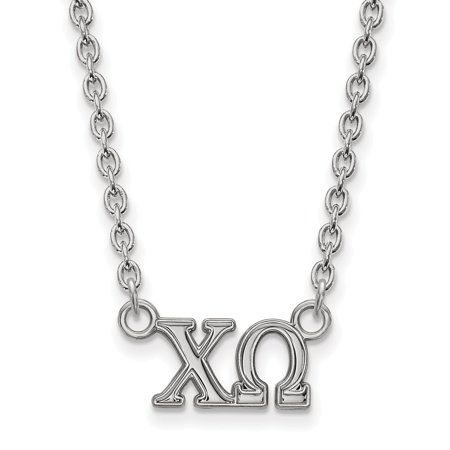 Solid 925 Sterling Silver Official Chi Omega Medium Pend Pendant Necklace Charm Chain - with Secure Lobster Lock Clasp 18