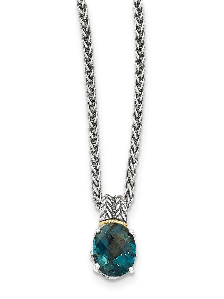 """14K Gold and 925 Sterling Silver with London Blue Simulated Topaz Necklace -18"""" by"""