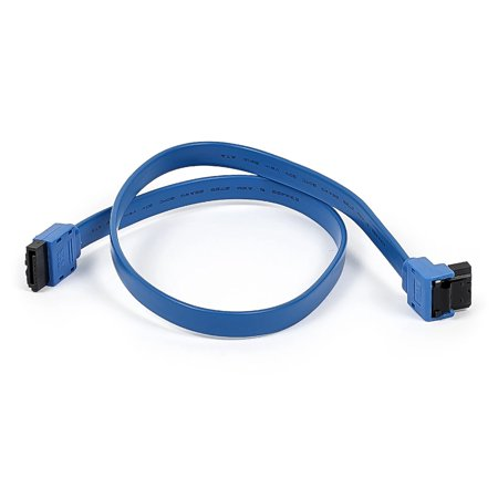 - Monoprice 18-inch SATA III 6.0 Gbps Cable w/Locking Latch and 1x 90-degree Plug - Blue