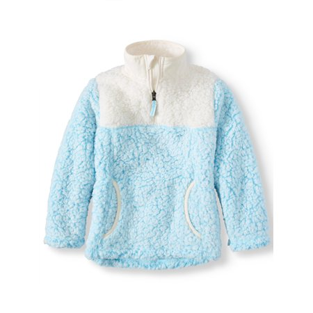 Wonder Nation Colorblock Quarter Zip Sherpa Pullover (Little Girls, Big Girls & Plus)