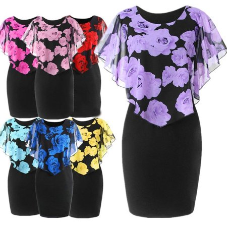 - Women's Summer Dress Floral Dress Fashion Party Dress Round Neck High Waist Chiffon Dress