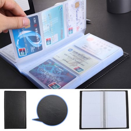 Black Leather 120 Business Name Card Holder Book Wallet Cover Case Pouch -