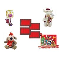 "Christmas Fun Gift Bundle [5 Piece] - I Just Rescued Some Wine"" Wine Glass Ornament - Woodniks ""Finish It"" Moose w/ Birdhouse Resin Figure 8"" -  Red Plaid Cloth Placemats Set of 4 - Soft & Cuddly  D"
