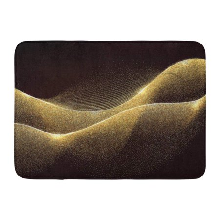 Yellow Gold Unique Wave (GODPOK Black Glow Abstract Gold Waves Design Shiny Golden Moving Lines with Glitter Effect on Dark for Yellow Rug Doormat Bath Mat 23.6x15.7)