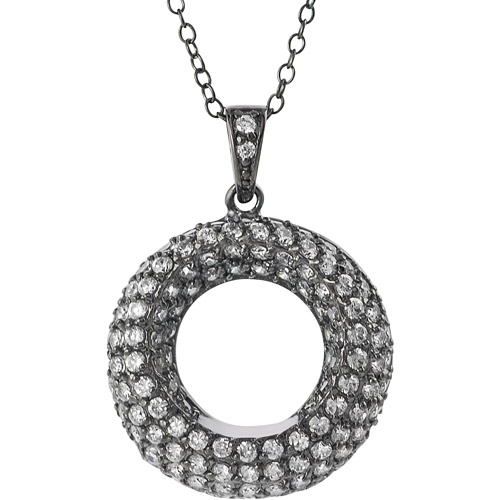 "Brinley Co. CZ Rhodium over Sterling Silver Circle Pendant, 16 with 1"" Extender"""