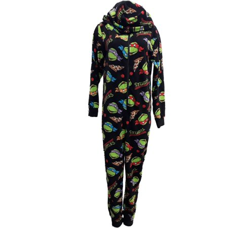 Womens TMNT Ninja Turtles Union Suit Pizza Blanket Sleeper Pajama Large
