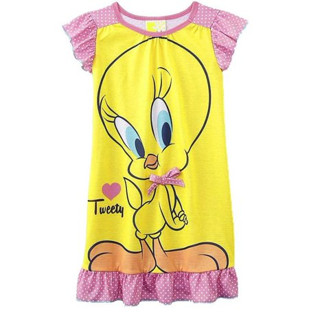 Looney Tunes Little Girls' Toddler Tweety Bird Nightgown, Yellow, Size: - Christmas Nightgowns For Toddlers