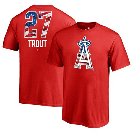 Mike Trout Los Angeles Angels Fanatics Branded Youth 2019 Stars & Stripes Banner Wave Name & Number T-Shirt -