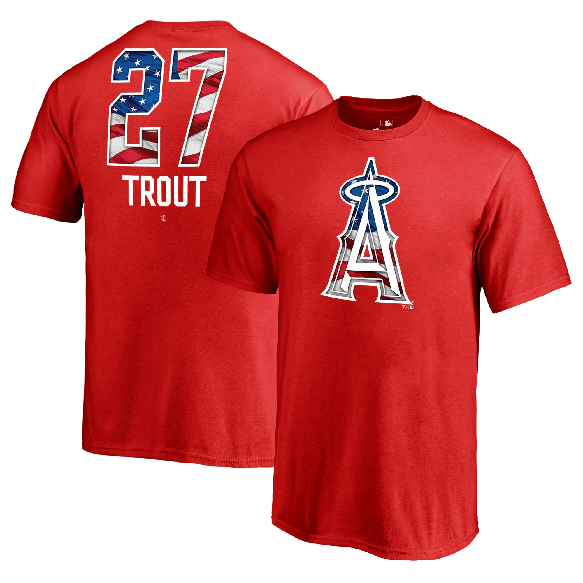 Mike Trout Los Angeles Angels Fanatics Branded Youth 2018 Stars & Stripes Banner Wave Name & Number T-Shirt - Red