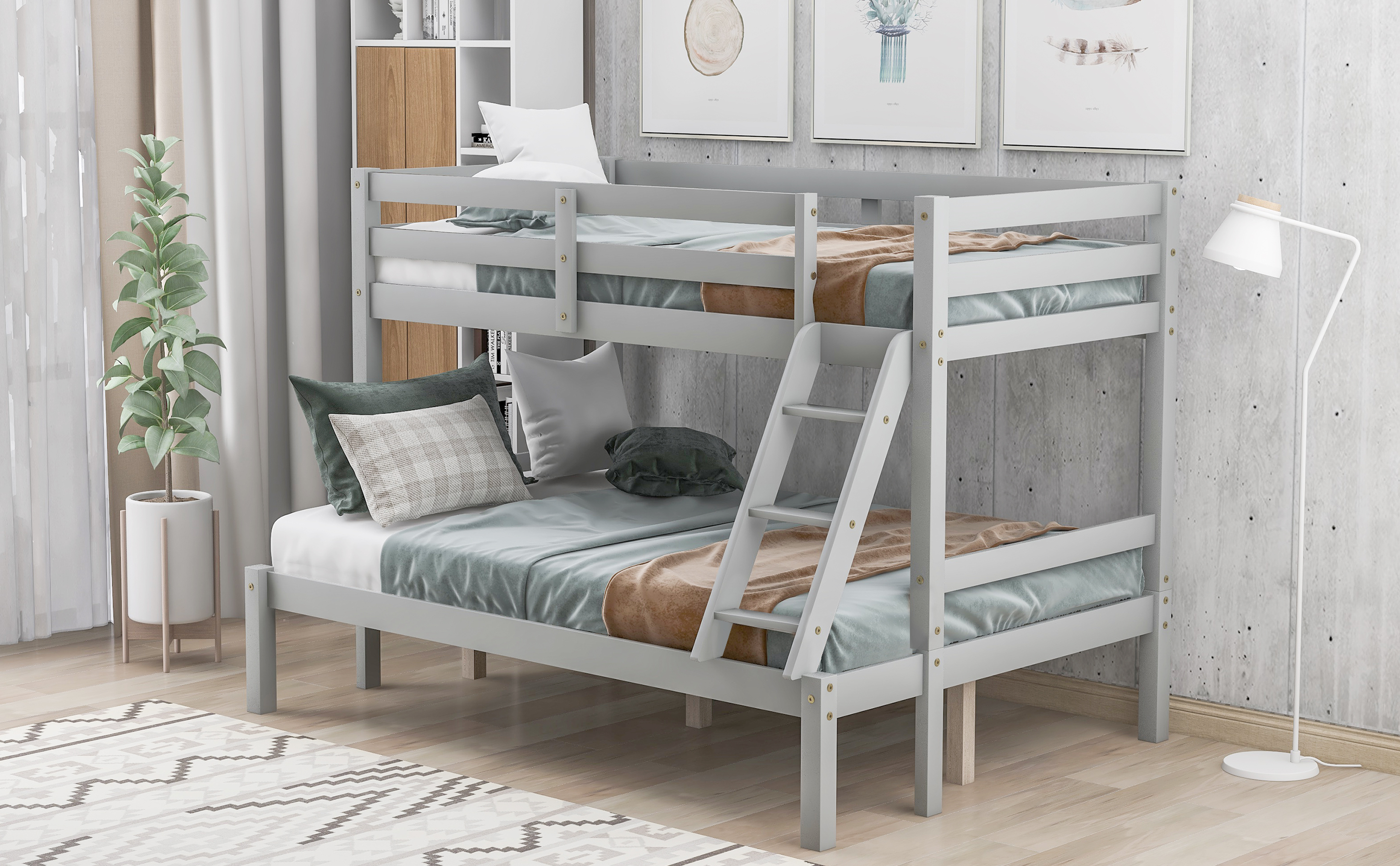 Twin Over Full Bunk Bed Wooden Bunk Bed With Ladder And Safety Rail Twin Loft Bed With 8 Slats And Pine Legs Bunk Bed For Kids Teens Adults Bunk Bed For Bedroom