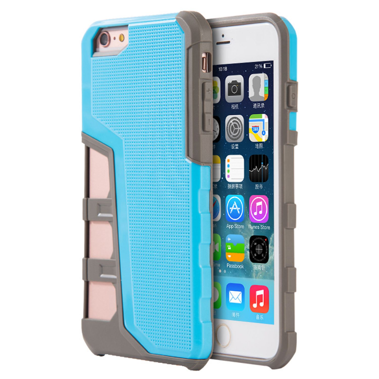 Insten Hard Hybrid TPU Cover Case For Apple iPhone 6s Plus / 6 Plus - Light Blue/Gray