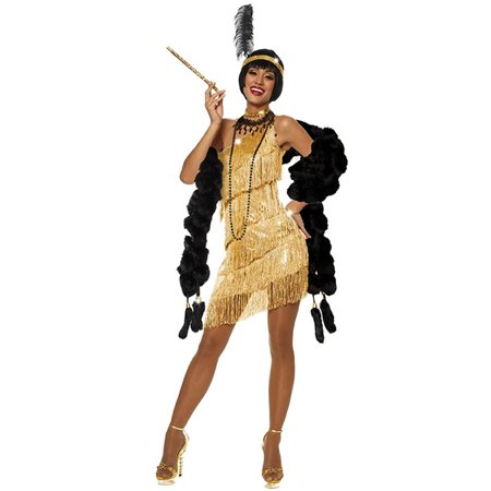 1920s Detective Costume (Gold Flapper Womens Costume Dress Roaring 20's 1920s Dazzling Gatsby Sexy)
