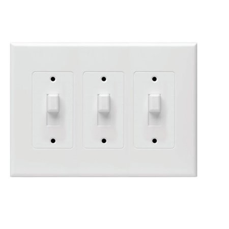 Hubbell Taymac - 2673W Masque Revive 3 Gang Toggle Cover Up Wall Plate - White