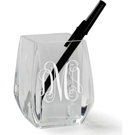 Script Monogram Personalized Acrylic Pen and Pencil Holder