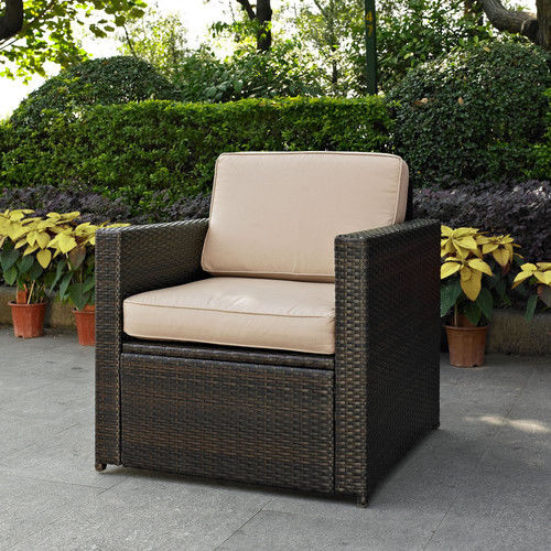 Crosley Furniture KO70088BR-GY Palm Harbor Resin Wicker Outdoor Arm Chair (Brown/Grey)