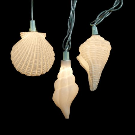 set of 10 under the sea cream glittered seashell novelty christmas lights green wire