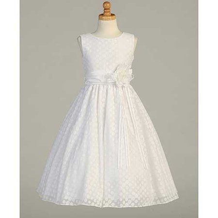 White Dot Flower First Communion Dress Plus Size Girls 85 Walmart