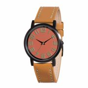 TOKYOBay Mens Carbon Analog Stainless Watch - Tan Leather Strap - Pink Dial - T157-RUS