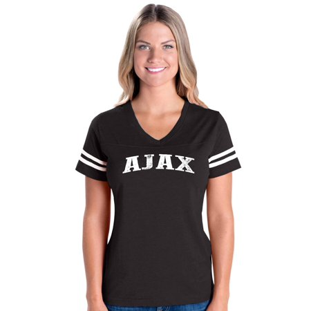 Ajax Map What To Do In Ontario Canada Womens Football V Neck Fine Jersey Tee