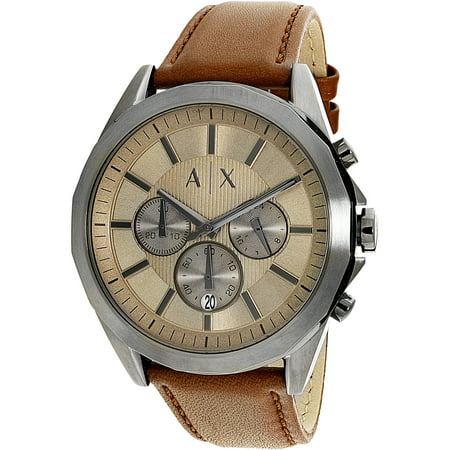 2ce0733c292 Armani Exchange - Armani Exchange Men s AX2605 Brown Leather Quartz Dress  Watch - Walmart.com