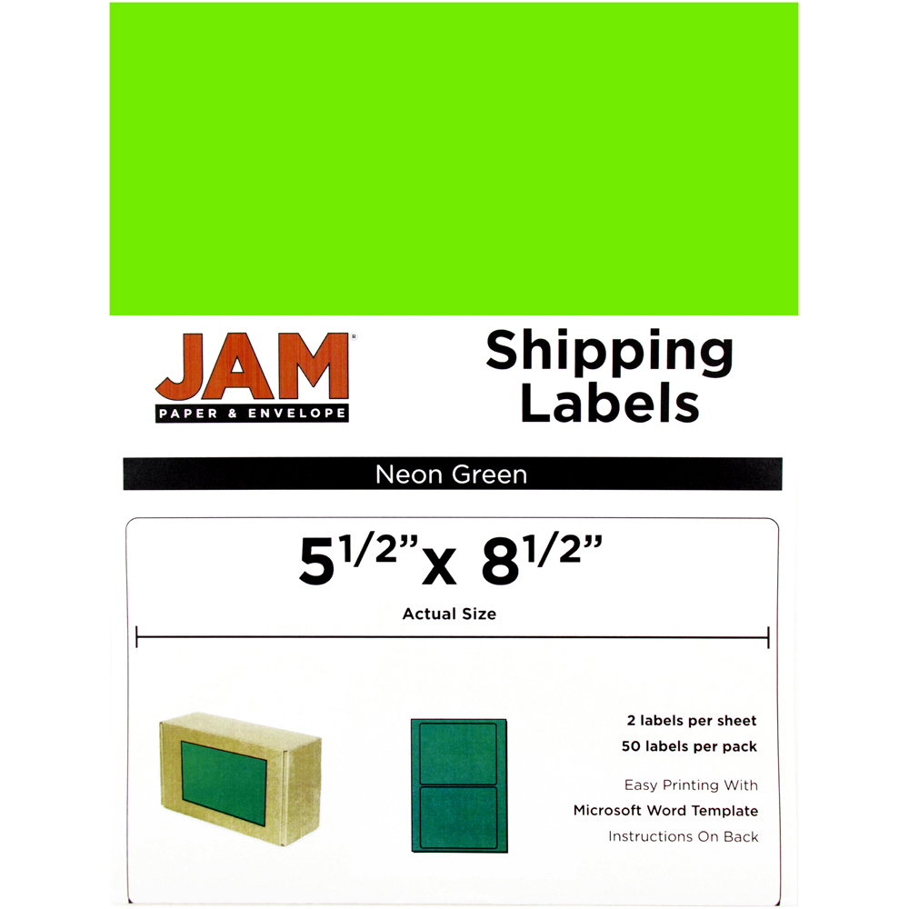 JAM Paper Shipping Labels, Half Sheet, 5 1/2 x 8 1/2, Neon Green, 50/pack