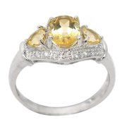 De Buman  Sterling Silver Citrine and Cubic Zirconia Ring