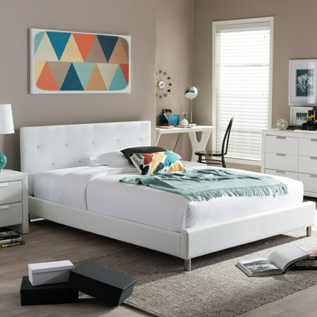 Baxton Studio Barbara Modern Platform Bed with Crystal Button Tufting (Queen Size), Multiple colors ()