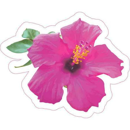 5.25 x 4.25 Pink Hibiscus Sticker Cup Tumbler Flower Car Window Bumper Stickers ()