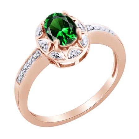 14k Natural Diamond Solitaire Ring (Oval Shape Green Emerald & Round White Natural Diamond Solitaire Engagement Ring in 14k Rose Gold Over Sterling Silver Ring Size - 4)