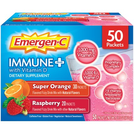 Emergen-C Immune+ Variety Pack (50 Count Value Pack, Super Orange & Raspberry Flavors) Dietary Supplement With Vitamin D Fizzy Drink Mix, 1000mg Vitamin C, 0.32 Ounce Packets
