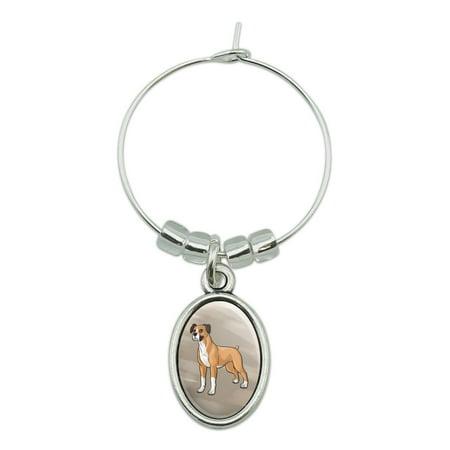 Boxer Pet Dog Wine Glass Oval Charm Drink Marker ()