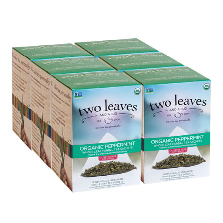 Two Leaves and a Bud, Inc., Organic Peppermint Herbal Tea, 15 Count - Organic Peppermint Leaf
