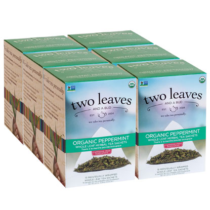 Two Leaves and a Bud, Inc., Organic Peppermint Herbal Tea, 15 Count