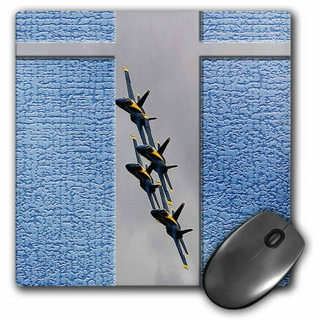 3dRose Blue Angels at an Airshow in Southern Utah with Blue, Textured Background on Gray Layer in Formation, Mouse Pad, 8 by 8 inches
