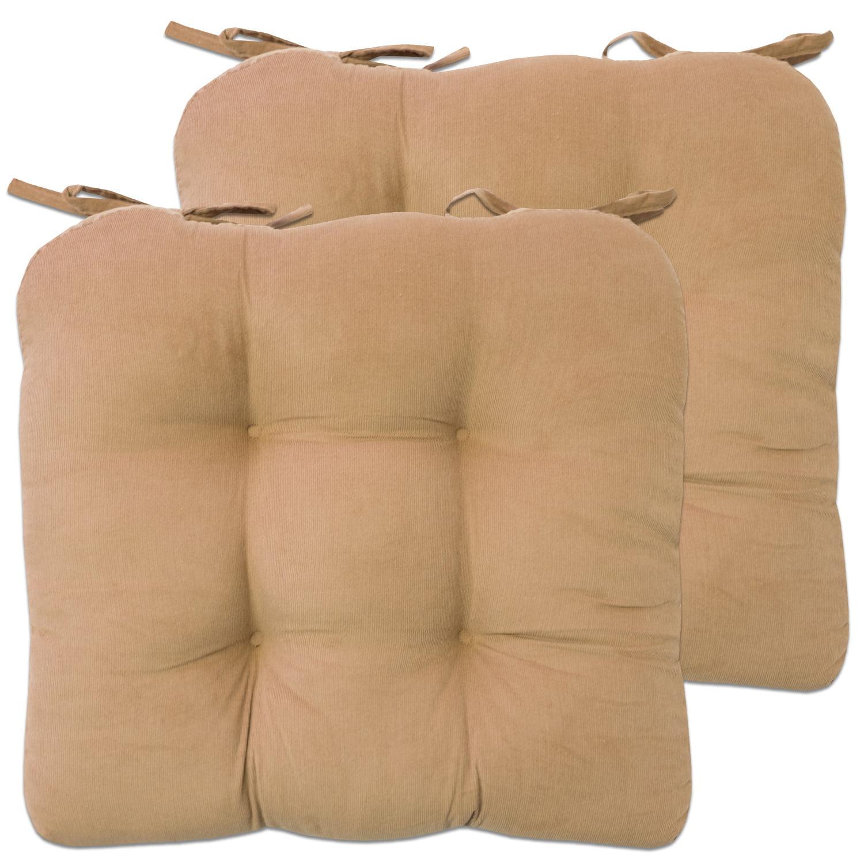 "Mini Corduroy Cotton 15""x15"" Chair Pad Cushion With Tiebacks 2 Pack by Popular Bath"