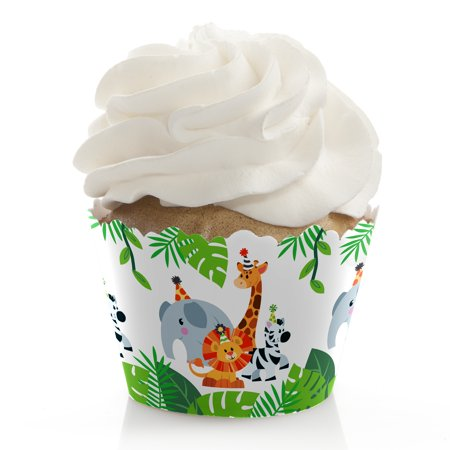 Jungle Party Animals - Safari Zoo Animal Birthday Party or Baby Shower Cupcake Wrappers - Set of 12 - Jungle Birthday Party