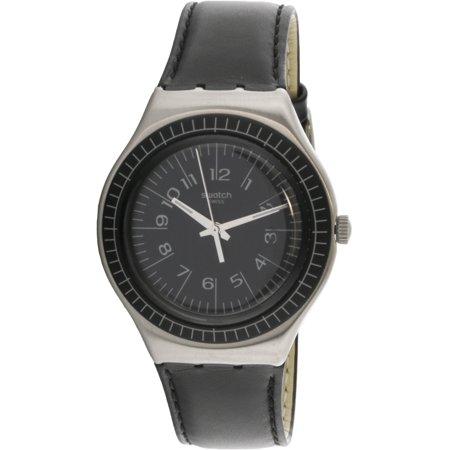 Swatch Antonin YGS133C Silver Leather Swiss Quartz Fashion Watch